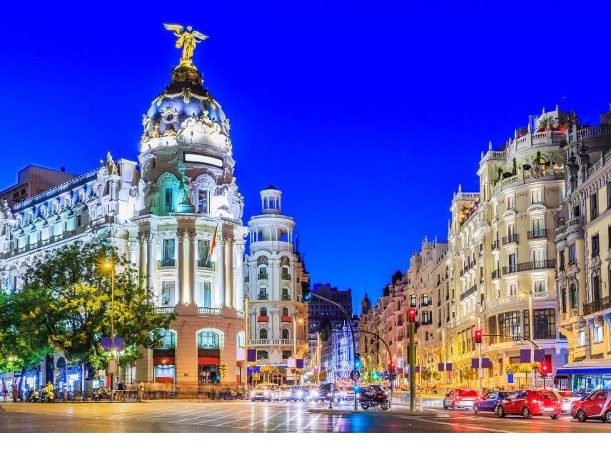 Vista del centro di Madrid dove si effettua la consegna di una spedizione