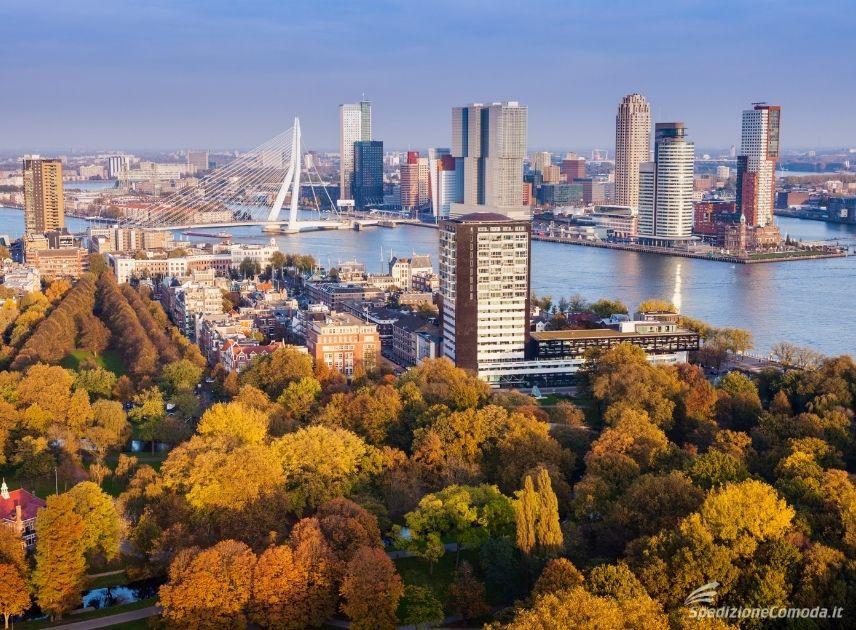 Vista della città di Rotterdam in Olanda con i colori dell'autunno
