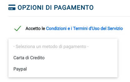 Opzioni di pagamento con carta di credito o Paypal