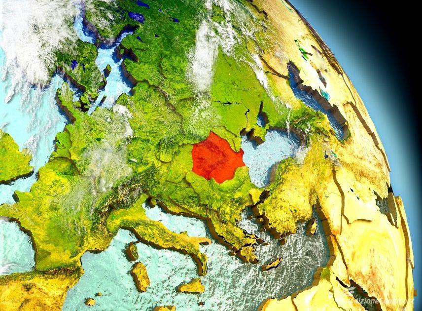Mappa dell'Europa con la Romania evidenziata