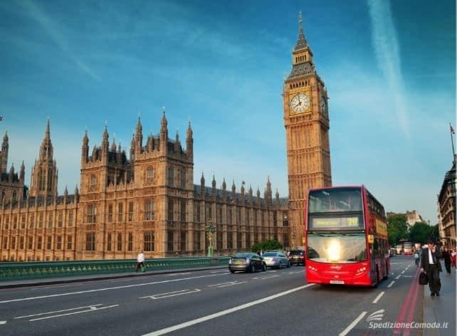 Spedire pacchi a Londra, città del Big Ben